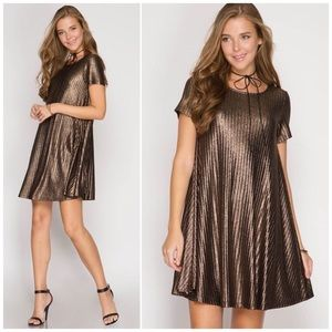 Bronze Short Sleeve Metallic Swing Dress